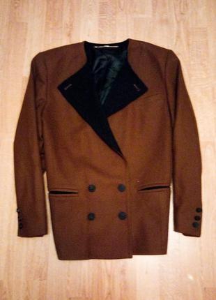 Жакет пиджак классический теплый фирменный коричневый с черным с карманами
