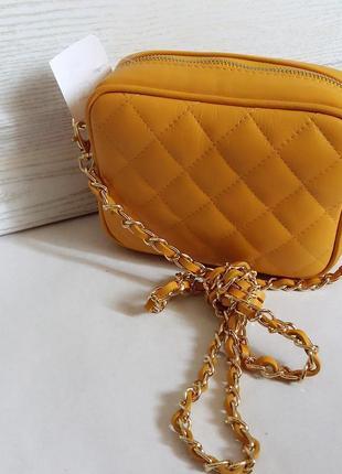 Компактная сумка-клатч на длинной ручке, кожа, италия