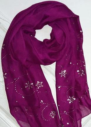 Парео, палантин, шарф цвета фуксии из вискозы, италия