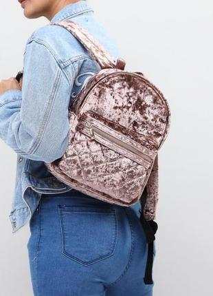 Велюровый бархатный рюкзак мягкий forever 21
