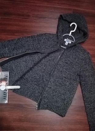 Отличная модная кофта толстовка свитер с капюшоном на молнии натуральная шерсть