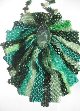 Жабо из бисера с натуральным камнем (агат) колье медальон кулон