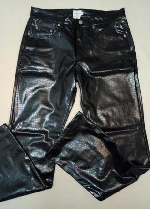 Черные кожаные брюки штаны calvin klein