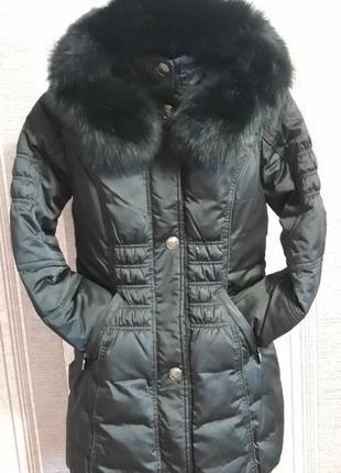 Черный натуральный пуховик-пальто с натуральным мехом песца!распродажа пуховиков в профиле