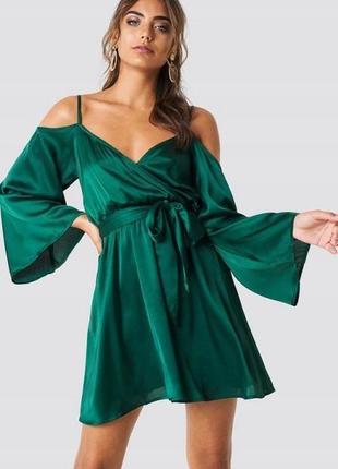 Na-kd атласна розкішна зелена сукня