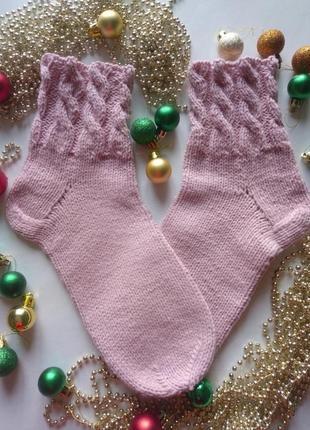 Нежнейшие зимние носки пудра,розовые