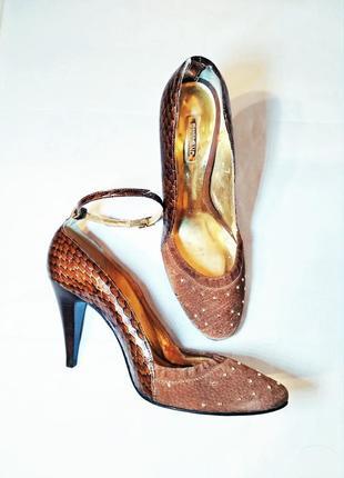Туфли под кожу рептилии на каблуке/шпильке премиум класса dumond испания. кожа.