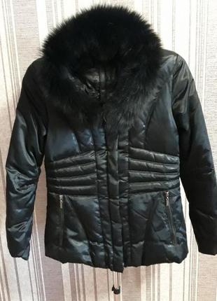 Пуховик-парка с натуральным мехом песца!укороченая куртка