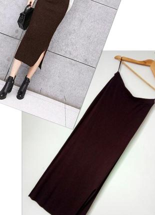 Dibari теплая узкая шерстяная трикотажная юбка французкой длины