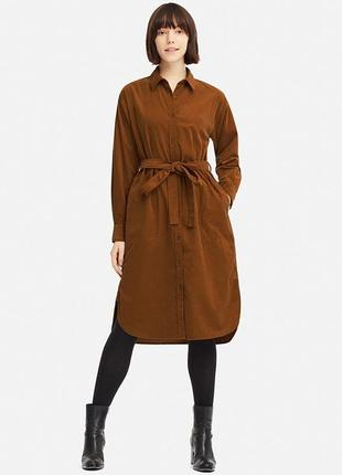 Платье рубашка вельветовое uniqlo