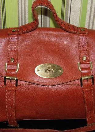 Оригинальная кожаная сумка- mulberry alexa -№373140-лондон