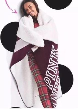 Плюшевый плед victoria's secret pink оригинал, большой толстый тёплый плед одеяло2