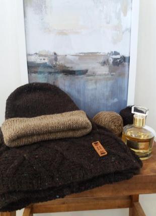 Твидовая шапочка  и шарф  из шерсти  мериноса,кашемира и шелка) hand   made