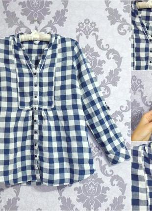 Скидки льняная рубашка в сине-белую клетку большой размер 100% лен 16-18р