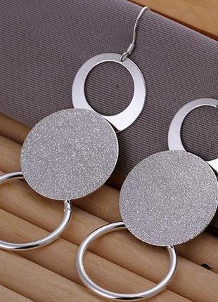 Серьги диски стерлинговое серебро 925 пробы