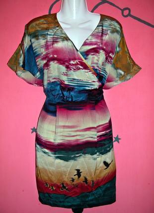 Шелковое платье кимоно с оригинальным принтом 100% шелк love label