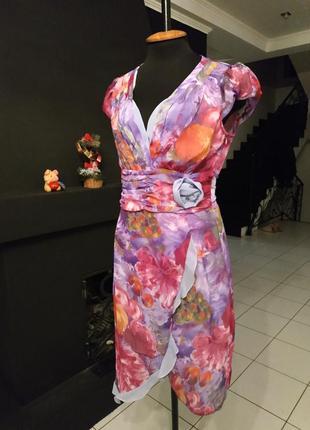 Шифоновое платье на запах шифон бельевой стиль принт