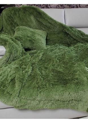 Шикарное покрывало полуторка 160х210 плед травка 100% бамбуковое волокно