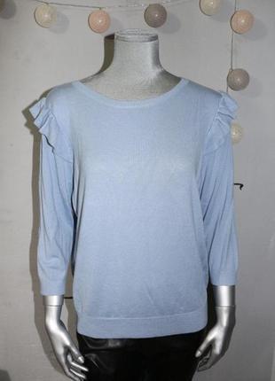 Голубая кофта джемпер с воланами f&f