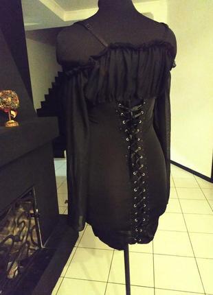 Платье на шнуровке шифон мокрый трикотаж италия