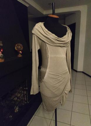 Платье с драпировкой и атласом италия ассиметрия бренд luk ap