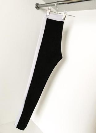 Лосины черные с белым леггинсы фитнес спортивные с лампасами высокая завышенная талия