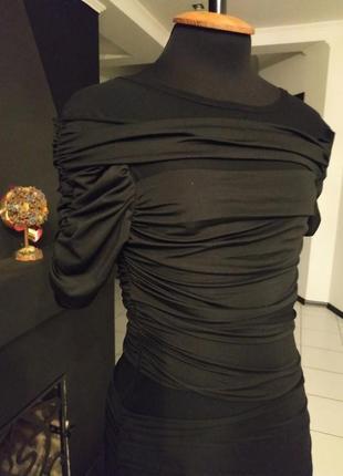 Платье - драпировка с сеткой мокрый трикотаж