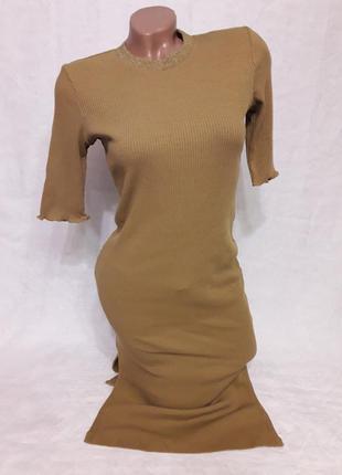 Горчичное платье h&m. тонкая вязка. идеально сидит на фигуре