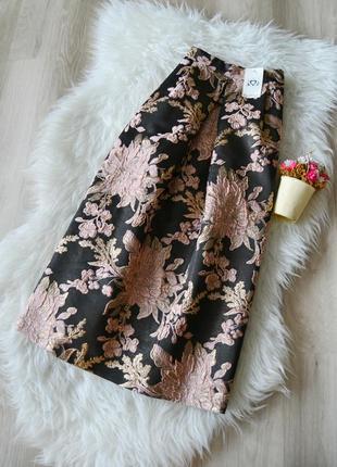 Новая миди юбка с золотистой ниткой miss selfridge