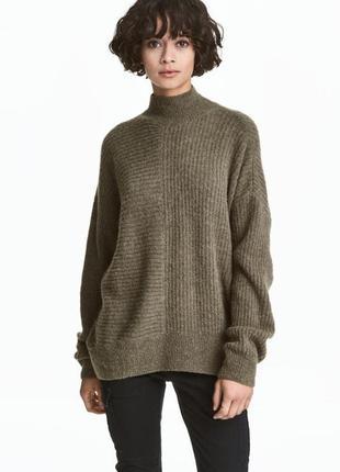 Вязаный шерстяной свитер гольф удлинённый джемпер платье крупной вязки цвета хаки