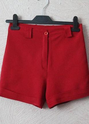 Красные, классические шорты с высокой посадкой s-m