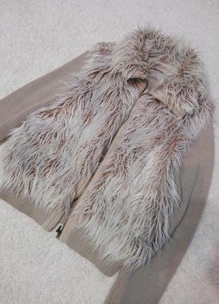 Крутая теплая куртка свитер искусственный мех и вязка осень-зима george
