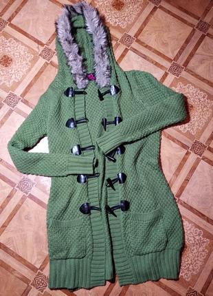 Кардиган жакет пиджак кофта ветровка оливковый с м женская зимний вязанный новый кожа