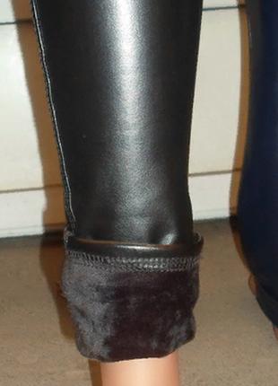 Леггинсы теплые лосины на меху с широким поясом ,стрейч-кожвинил с 42 по 50р3 фото