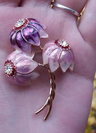 Брошь эхинацея букет цветы  розовый сиреневый