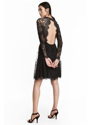 Нежное сексапильное кружевное платье с открытой спинкой от h&m