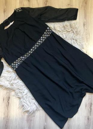 Черное миди платье расшитое бисером и камнями