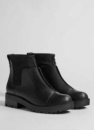 100% натуральная кожа. новые ботинки челси bershka (35,36,37,38,39,40)