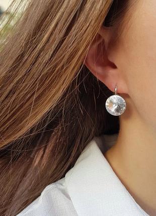 Swarovski серебряные серьги сережки круглые белые сваровски подарок девушке