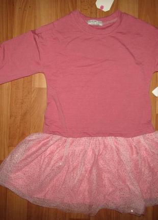 Платье туника с фатиновой юбкой и блестками, 98-128, венгрия