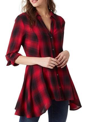 Приталенная  рубашка в черно-красную клетку *vintage america*  размер m