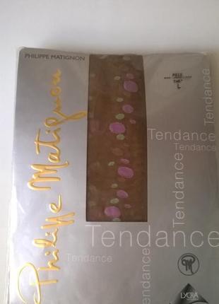 Красивые чулки м/l  20 den с лайкрой philippe matignon с контрастным рисунком