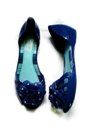Балетки босоножки резиновые силиконовые синие сандалии 23см.