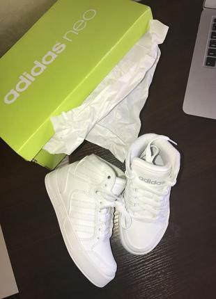 Детские кроссовки кеды сникерсы белые adidas neo
