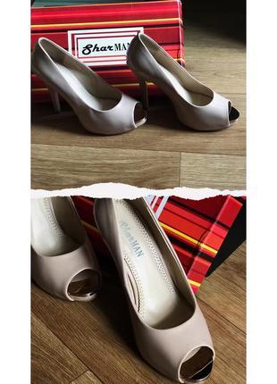 Бежевые лаковые туфли на шпильке sharman