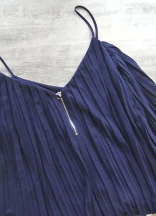New look синяя маечка плиссе на тонких бретелях, с молнией, м