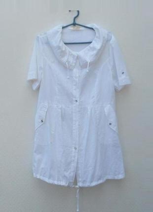 Белое летнее легкое хлопковое платье рубашка fili star