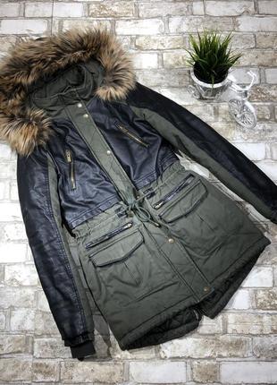 Стильная демисезонная парка с капюшоном, кожаный вставки, куртка длинная
