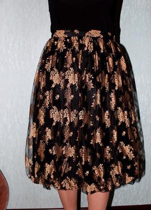 Нарядная дизайнерская юбка с подобраным низом английского бренда stirling cooper