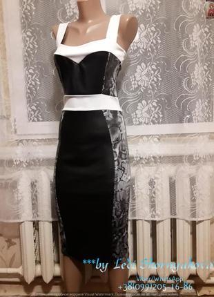 Новое платье миди со вставками еко-кожи, размер с-м